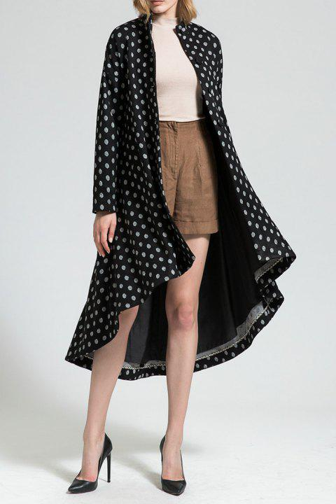 Polka Dot High Low Wool Blend Coat - Noir 3XL