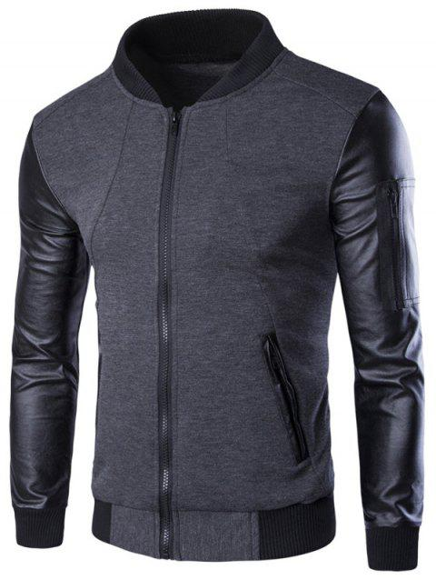 PU-Leather Spliced Stand Collar Zip-Up Jacket - GRAY M