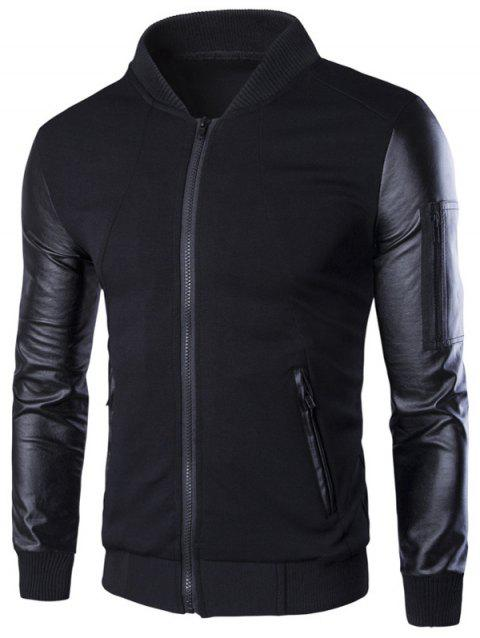 PU-Leather Spliced Stand Collar Zip-Up Jacket - BLACK M