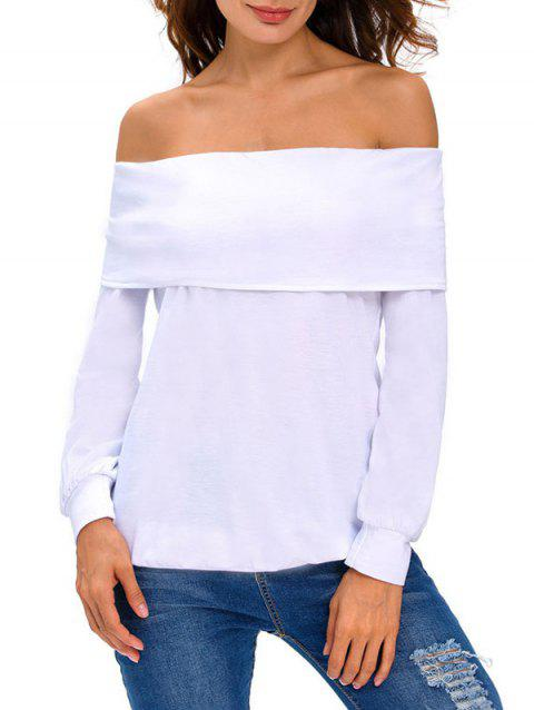 Off-The-Shoulder T-Shirt - WHITE M