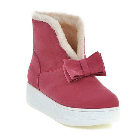Platform Bow Round Toe Short Boots - WATERMELON RED 37