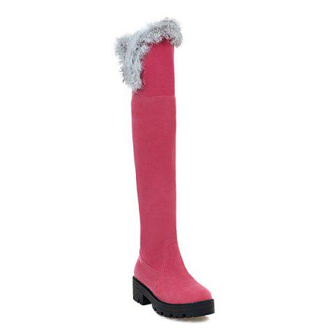 Chunky Heel Suede Faux Fur Thigh Boots - WATERMELON RED 37