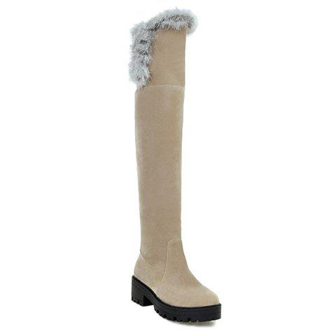 Chunky Heel Suede Faux Fur Thigh Boots - LIGHT KHAKI 38