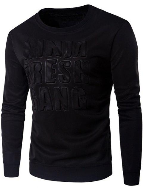 3D Emboss Graphic Crew Long Neck Sweatshirt manches - Noir M