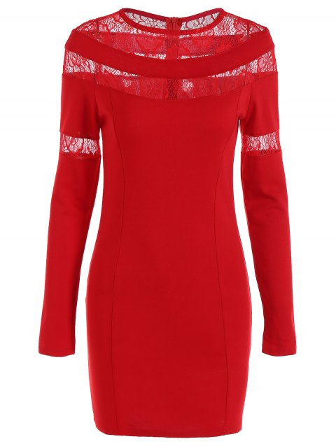 Lace-Paneled Openwork Bandage Long Sleeve Dress - RED L