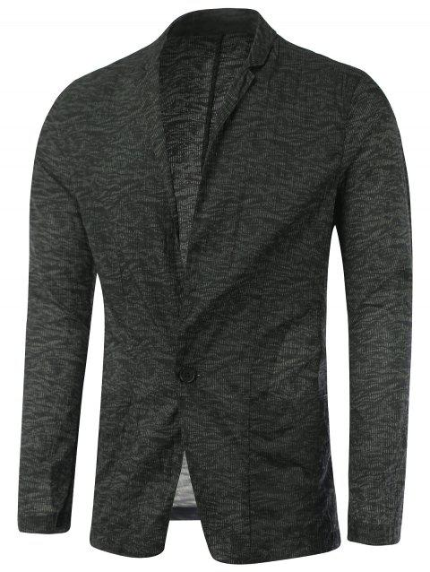 Casual Notch Lapel Texture One-Button Blazer - BLACK XL