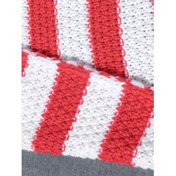Warm Double Ruffle Edge Knit Striped Mermaid Blanket - RED