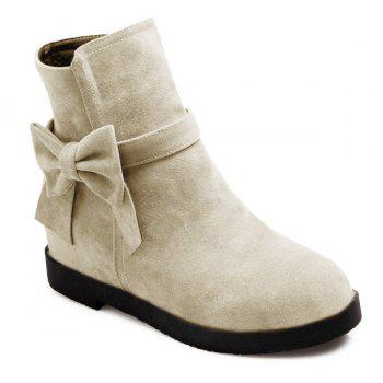 Hidden Wedge Suede Bowknot Short Boots