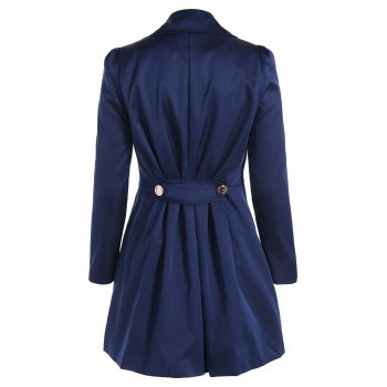 Fit and Flare Double Breasted Coat - CADETBLUE 2XL