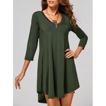 V-Neck Asymmetrical Casual Day Dress Fall