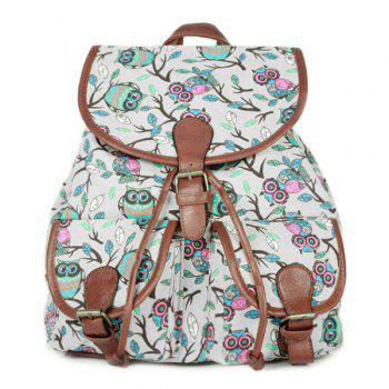 Buy Leisure Buckles Print Design Women's Satchel OFF WHITE