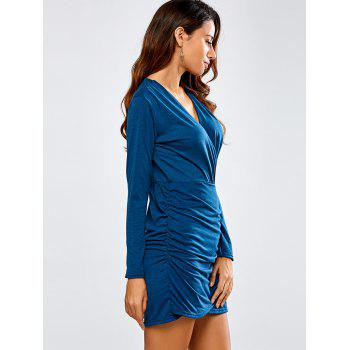 Long Sleeve Ruched Bandage Wrap Bodycon Dress - DEEP BLUE S