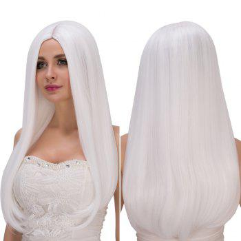 Long Middle Part White Straight Tail Adduction Women's Fashion Cosplay Lolita Synthetic Wig