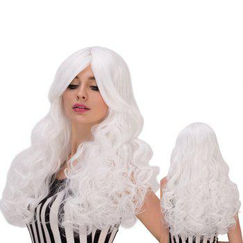 Towheaded Wavy Long Middle Part White Women's Cosplay Lolita Synthetic Wig