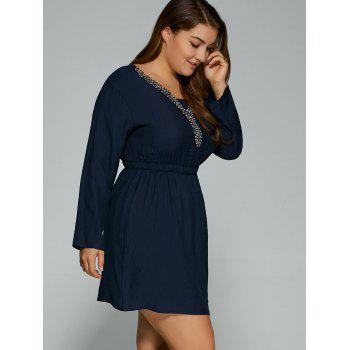 Plus Size Beading V Neck Long Sleeved Mini Dress