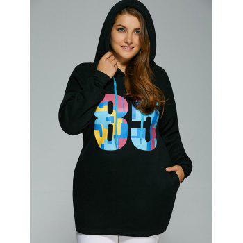 Plus Size Colorful Number Print Drawstring Hoodie