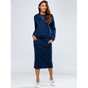 Space Dyed Sweater and Kintting Slit Pencil Skirt - DEEP BLUE M