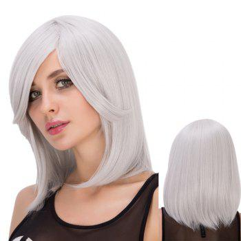 Medium Side Bang Silver White Straight Endearing Women's Cosplay Lolita Synthetic Wig