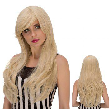 Slightly Curled Long Pale Gold Side Bang Sparkling Synthetic Wig For Women