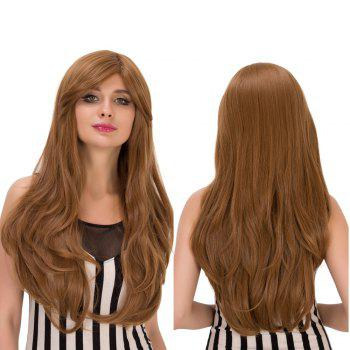Slightly Curled Long Dark Ash Blonde Side Bang Sparkling Synthetic Wig For Women