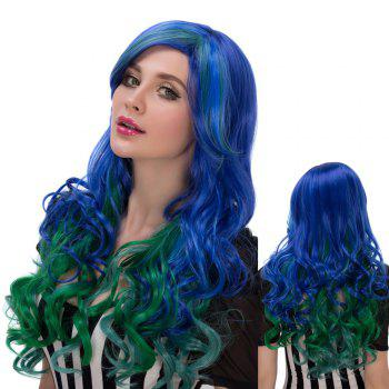 Colorful Faddish Long Side Parting Wavy Film Character Cosplay Wig