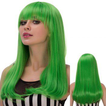 Skilful Green Long Straight Tail Adduction Full Bang Film Character Cosplay Wig