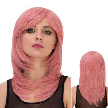 Buy Fresh Pink Long Layered Tail Adduction Side Bang Straight Film Character Cosplay Wig PINK