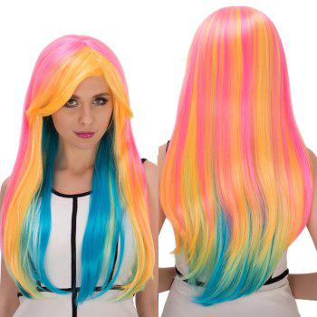 Long Side Bang Straight Rainbow Film Character Cosplay Wig