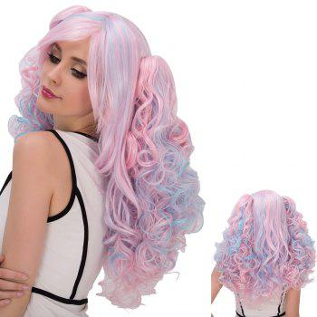 Colored Film Character Long Fluffy Side Bang Wavy With Bunches Cosplay Wig