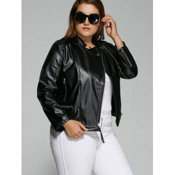 Plus Size Inclined Zipper Biker Jacket