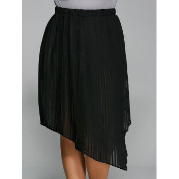 Plus Size Pleated Side Slit Asymmetrical Skirt