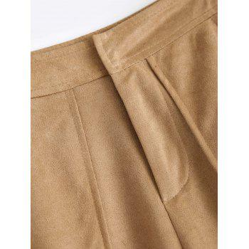 Sueded Cropped Wide Leg Pants - M M