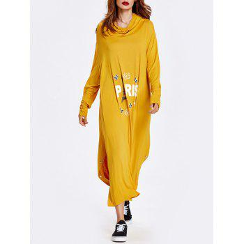 Letter Slit Loose Casual Dress