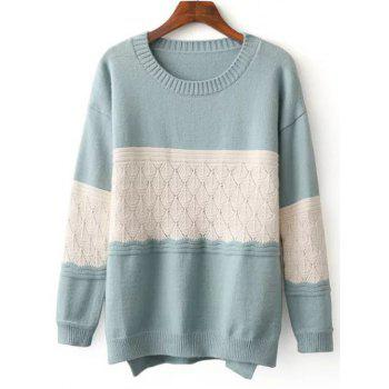 Crew Neck Color Block High Low Sweater