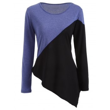 Long Sleeve Color Block Asymmetric  T-Shirt