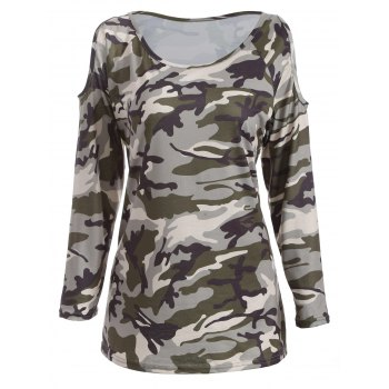 Cold Shoulder Camo Long Sleeve T-Shirt