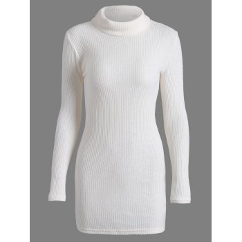 Turtleneck Bodycon Casual Knit Mini Sweater Dress