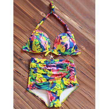 Halter High Waisted Floral Printed Bikini