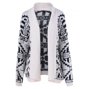 Geometrical Loose Collarless Cardigan