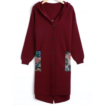Letter Hooded Slit Wool Coat