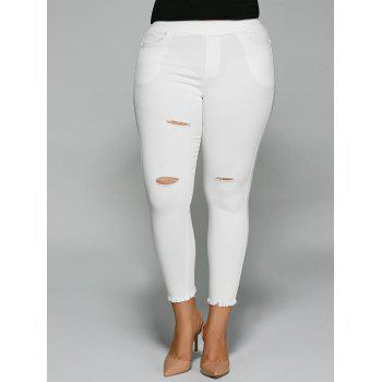 Plus Size Ripped Capri Pants with Pocket
