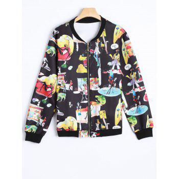 Plus Size Cartoon Print Zippered Jacket