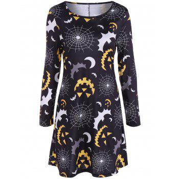 Bat and Web Halloween Print Long Sleeve Mini Swing Dress