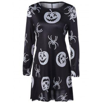 Pumpkin Spider Print Halloween Swing Mini Dress