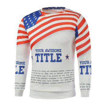Buy American Flag Letters Printed Long Sleeve Sweatshirt WHITE