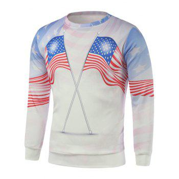 Buy American Flags Printed Long Sleeve Sweatshirt WHITE