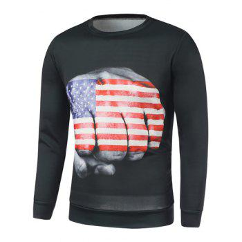 American Flag Fist Printed Long Sleeve Sweatshirt