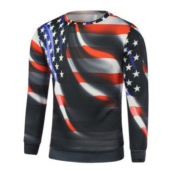 Buy American Flag Star Long Sleeve Sweatshirt BLACK