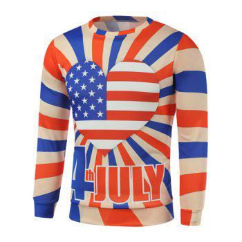American Flag Heart Letter Printed Long Sleeve Sweatshirt