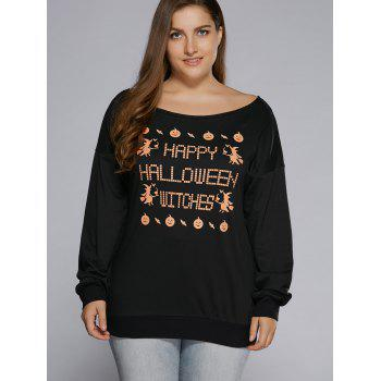 Plus Size Long Sleeve Graphic Hallowmas T-Shirt